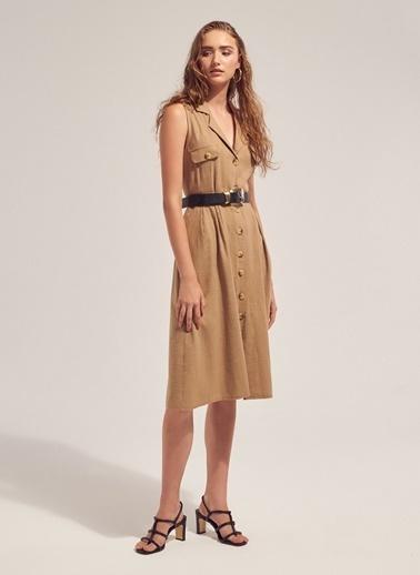Monamoda Safari Keten Gömlek Elbise Bej